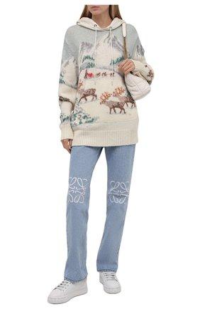 Женский шерстяное худи MONCLER разноцветного цвета, арт. G2-093-9G000-03-M1224 | Фото 2 (Материал внешний: Шерсть; Длина (для топов): Удлиненные; Рукава: Длинные; Женское Кросс-КТ: Худи-одежда; Стили: Кэжуэл)