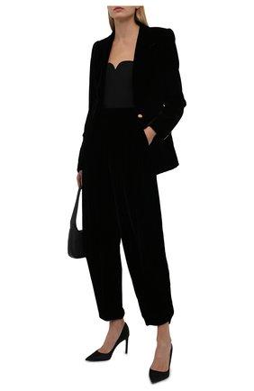 Женские брюки из вискозы и шелка GIORGIO ARMANI черного цвета, арт. 1WHPP0JW/T01FD | Фото 2 (Материал внешний: Вискоза; Длина (брюки, джинсы): Стандартные; Стили: Гламурный; Женское Кросс-КТ: Брюки-одежда; Силуэт Ж (брюки и джинсы): Широкие)