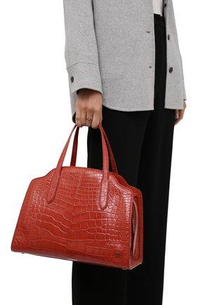 Женская сумка sesia large из кожи аллигатора LORO PIANA оранжевого цвета, арт. FAL6770/AMIS   Фото 2 (Ремень/цепочка: На ремешке; Размер: large; Сумки-технические: Сумки top-handle)