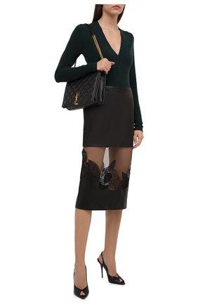 Женская кожаная юбка TOM FORD темно-коричневого цвета, арт. GCL827-LEX228 | Фото 2 (Материал подклада: Шелк; Стили: Гламурный; Женское Кросс-КТ: Юбка-одежда; Длина Ж (юбки, платья, шорты): До колена)