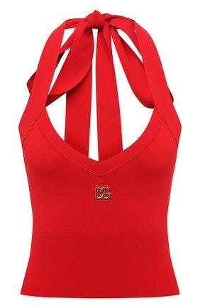 Женский топ DOLCE & GABBANA красного цвета, арт. FX262Z/JAIEQ | Фото 1 (Материал внешний: Вискоза; Длина (для топов): Укороченные; Стили: Гламурный)