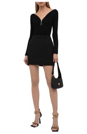 Женский шерстяной пуловер ALEXANDER MCQUEEN черного цвета, арт. 679416/Q1AXF | Фото 2 (Материал внешний: Шерсть; Рукава: Длинные; Длина (для топов): Стандартные; Стили: Гламурный; Женское Кросс-КТ: Пуловер-одежда)