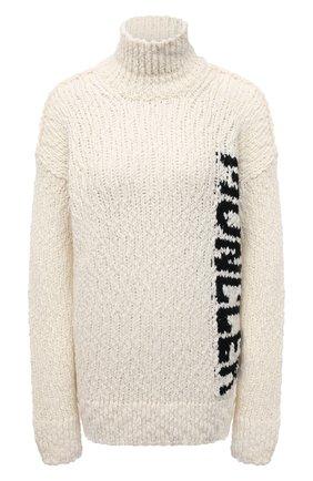 Женский свитер MONCLER кремвого цвета, арт. G2-093-9F000-08-M1280 | Фото 1 (Материал внешний: Шерсть, Синтетический материал; Рукава: Длинные; Длина (для топов): Удлиненные; Стили: Кэжуэл; Женское Кросс-КТ: Свитер-одежда)