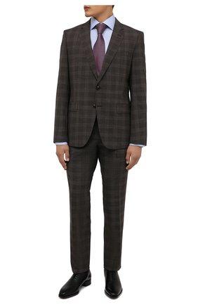 Мужской шерстяной костюм BOSS коричневого цвета, арт. 50460488 | Фото 1 (Рукава: Длинные; Материал внешний: Шерсть; Костюмы М: Однобортный; Стили: Классический)