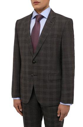 Мужской шерстяной костюм BOSS коричневого цвета, арт. 50460488 | Фото 2 (Рукава: Длинные; Материал внешний: Шерсть; Костюмы М: Однобортный; Стили: Классический)