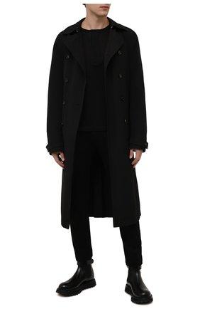 Мужские брюки HUGO черного цвета, арт. 50459942 | Фото 2 (Материал внешний: Вискоза, Синтетический материал; Длина (брюки, джинсы): Стандартные; Случай: Формальный; Стили: Классический)