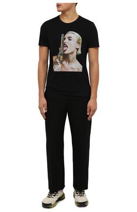 Мужская хлопковая футболка RH45 черного цвета, арт. KS07-I | Фото 2 (Длина (для топов): Стандартные; Материал внешний: Хлопок; Рукава: Короткие; Принт: С принтом; Стили: Гранж)