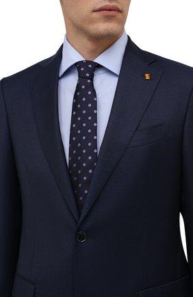 Мужской шелковый галстук LUIGI BORRELLI синего цвета, арт. CR361176 | Фото 2 (Материал: Шелк, Текстиль; Принт: С принтом)