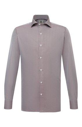 Мужская хлопковая сорочка LUIGI BORRELLI коричневого цвета, арт. SR4120/ACHILLE/ST/EV/PC | Фото 1 (Материал внешний: Хлопок; Рукава: Длинные; Длина (для топов): Стандартные; Случай: Формальный; Принт: С принтом; Рубашки М: Super Slim Fit; Манжеты: На пуговицах; Стили: Классический; Воротник: Акула)