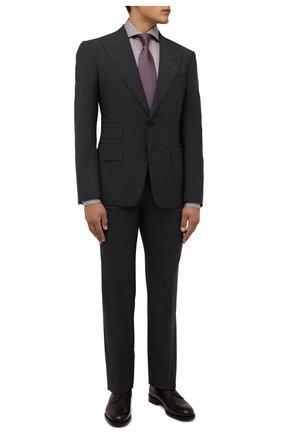 Мужская хлопковая сорочка LUIGI BORRELLI коричневого цвета, арт. SR4120/ACHILLE/ST/EV/PC | Фото 2 (Материал внешний: Хлопок; Рукава: Длинные; Длина (для топов): Стандартные; Случай: Формальный; Принт: С принтом; Рубашки М: Super Slim Fit; Манжеты: На пуговицах; Стили: Классический; Воротник: Акула)