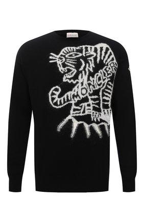 Мужской шерстяной свитер MONCLER черного цвета, арт. G2-091-9C000-23-M1258 | Фото 1 (Длина (для топов): Стандартные; Рукава: Длинные; Материал внешний: Шерсть; Мужское Кросс-КТ: Свитер-одежда; Принт: С принтом; Стили: Гранж)