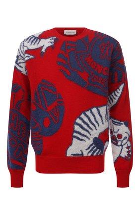 Мужской шерстяной свитер MONCLER красного цвета, арт. G2-091-9C000-22-M1257 | Фото 1 (Материал внешний: Шерсть; Рукава: Длинные; Длина (для топов): Стандартные; Мужское Кросс-КТ: Свитер-одежда; Принт: С принтом; Стили: Гранж)