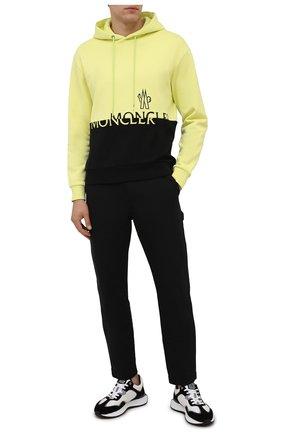 Мужской хлопковое худи MONCLER желтого цвета, арт. G2-091-8G000-40-899FL | Фото 2 (Материал внешний: Хлопок; Мужское Кросс-КТ: Худи-одежда; Принт: С принтом; Стили: Спорт-шик; Рукава: Длинные; Длина (для топов): Стандартные)