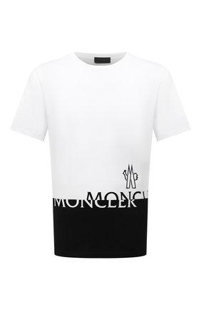 Мужская хлопковая футболка MONCLER белого цвета, арт. G2-091-8C000-18-829H8 | Фото 1 (Рукава: Короткие; Материал внешний: Хлопок; Длина (для топов): Стандартные; Принт: С принтом; Стили: Спорт-шик)