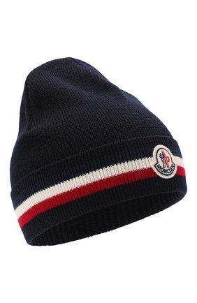 Мужская шерстяная шапка MONCLER темно-синего цвета, арт. G2-091-3B000-28-A9575 | Фото 1 (Материал: Шерсть; Кросс-КТ: Трикотаж)