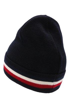 Мужская шерстяная шапка MONCLER темно-синего цвета, арт. G2-091-3B000-28-A9575 | Фото 2 (Материал: Шерсть; Кросс-КТ: Трикотаж)