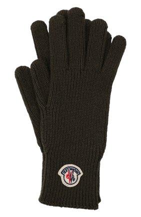 Мужские шерстяные перчатки MONCLER хаки цвета, арт. G2-091-3A000-03-A9342 | Фото 1 (Материал: Шерсть; Кросс-КТ: Трикотаж)