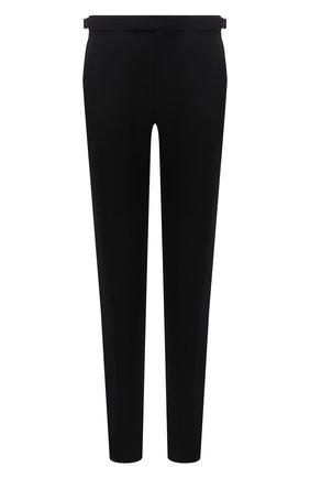 Мужские шерстяные брюки ERMENEGILDO ZEGNA черного цвета, арт. 216587/6100A3 | Фото 1 (Материал подклада: Вискоза; Длина (брюки, джинсы): Стандартные; Материал внешний: Шерсть; Случай: Формальный; Стили: Классический)
