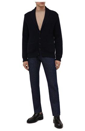 Мужской кашемировый кардиган ERMENEGILDO ZEGNA темно-синего цвета, арт. UYK55/155 | Фото 2 (Материал внешний: Шерсть, Кашемир; Длина (для топов): Стандартные; Рукава: Длинные; Мужское Кросс-КТ: Кардиган-одежда; Стили: Кэжуэл)