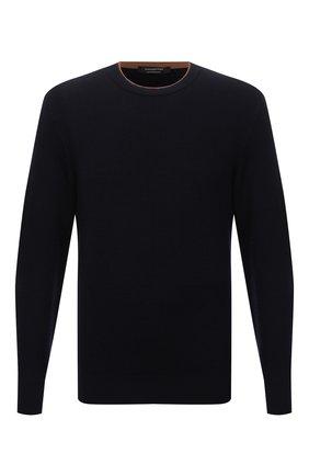 Мужской шерстяной свитер ERMENEGILDO ZEGNA темно-синего цвета, арт. UYM98/111 | Фото 1 (Материал внешний: Шерсть; Рукава: Длинные; Длина (для топов): Стандартные; Мужское Кросс-КТ: Свитер-одежда; Принт: Без принта; Стили: Классический)