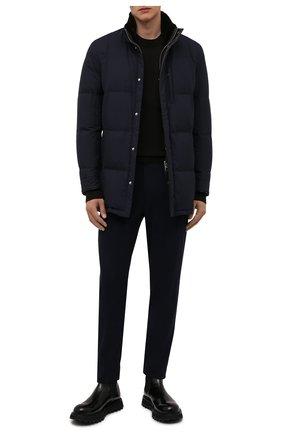 Мужская пуховик с меховой отделкой ANDREA CAMPAGNA темно-синего цвета, арт. A3T790/3841   Фото 2 (Материал внешний: Шелк; Материал утеплителя: Шерсть, Пух и перо; Кросс-КТ: Куртка; Мужское Кросс-КТ: пуховик-короткий; Рукава: Длинные; Длина (верхняя одежда): До середины бедра; Стили: Классический)