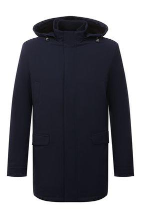 Мужская куртка с меховой отделкой ANDREA CAMPAGNA темно-синего цвета, арт. A3T743/4812 | Фото 1 (Материал внешний: Шерсть; Материал подклада: Синтетический материал; Кросс-КТ: Куртка; Рукава: Длинные; Длина (верхняя одежда): До середины бедра; Стили: Классический; Мужское Кросс-КТ: утепленные куртки)