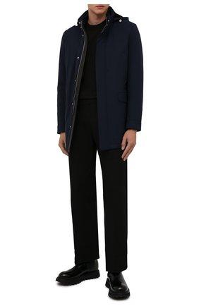 Мужская куртка с меховой отделкой ANDREA CAMPAGNA темно-синего цвета, арт. A3T743/4812 | Фото 2 (Материал внешний: Шерсть; Материал подклада: Синтетический материал; Кросс-КТ: Куртка; Рукава: Длинные; Длина (верхняя одежда): До середины бедра; Стили: Классический; Мужское Кросс-КТ: утепленные куртки)