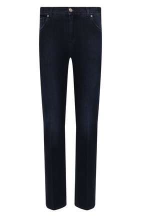 Мужские джинсы ANDREA CAMPAGNA темно-синего цвета, арт. AC402/T201.W549 | Фото 1 (Материал внешний: Хлопок; Длина (брюки, джинсы): Стандартные; Кросс-КТ: Деним; Стили: Классический; Силуэт М (брюки): Прямые; Детали: Потертости)