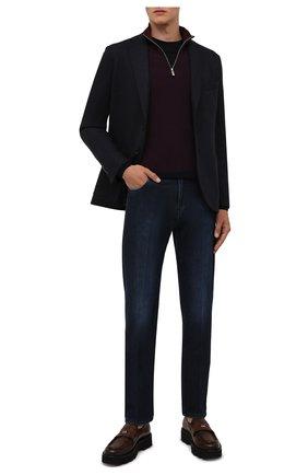 Мужские джинсы ANDREA CAMPAGNA темно-синего цвета, арт. AC402/T201.W549 | Фото 2 (Материал внешний: Хлопок; Длина (брюки, джинсы): Стандартные; Кросс-КТ: Деним; Стили: Классический; Силуэт М (брюки): Прямые; Детали: Потертости)