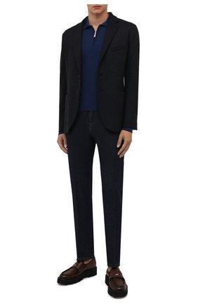 Мужское поло из шерсти и шелка ANDREA CAMPAGNA синего цвета, арт. WU01-212-F200 | Фото 2 (Материал внешний: Шерсть; Рукава: Длинные; Застежка: Молния; Стили: Кэжуэл; Кросс-КТ: Трикотаж; Длина (для топов): Стандартные)