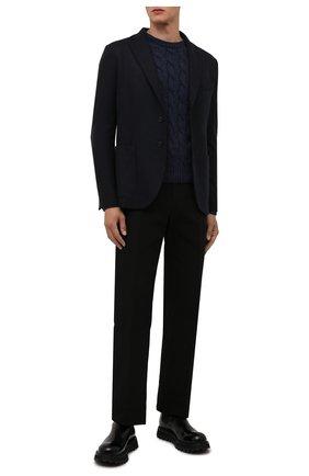 Мужской кашемировый свитер ANDREA CAMPAGNA темно-синего цвета, арт. WU22-9321-F100 | Фото 2 (Материал внешний: Кашемир, Шерсть; Длина (для топов): Стандартные; Рукава: Длинные; Мужское Кросс-КТ: Свитер-одежда; Принт: Без принта; Стили: Кэжуэл)