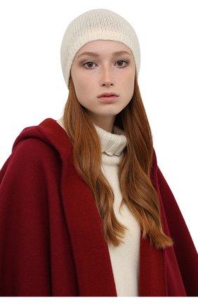 Женская шапка из кашемира и шелка RALPH LAUREN кремвого цвета, арт. 290856609 | Фото 2 (Материал: Шерсть, Кашемир)
