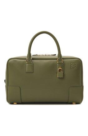 Женская сумка amazona 28 LOEWE темно-зеленого цвета, арт. A039N08X01   Фото 1 (Материал: Натуральная кожа; Размер: medium; Сумки-технические: Сумки top-handle; Ремень/цепочка: На ремешке)