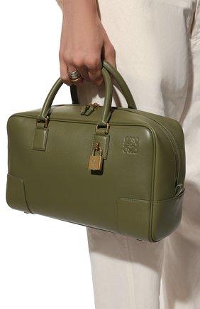 Женская сумка amazona 28 LOEWE темно-зеленого цвета, арт. A039N08X01   Фото 2 (Материал: Натуральная кожа; Размер: medium; Сумки-технические: Сумки top-handle; Ремень/цепочка: На ремешке)