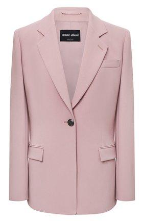 Женский жакет из вискозы GIORGIO ARMANI светло-розового цвета, арт. 1WHGG0NP/T02MM | Фото 1 (Рукава: Длинные; Длина (для топов): Удлиненные; Материал внешний: Вискоза; 1-2-бортные: Однобортные; Женское Кросс-КТ: Жакет-одежда; Материал подклада: Вискоза)