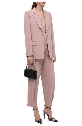 Женский жакет из вискозы GIORGIO ARMANI светло-розового цвета, арт. 1WHGG0NP/T02MM | Фото 2 (Рукава: Длинные; Длина (для топов): Удлиненные; Материал внешний: Вискоза; 1-2-бортные: Однобортные; Женское Кросс-КТ: Жакет-одежда; Материал подклада: Вискоза)