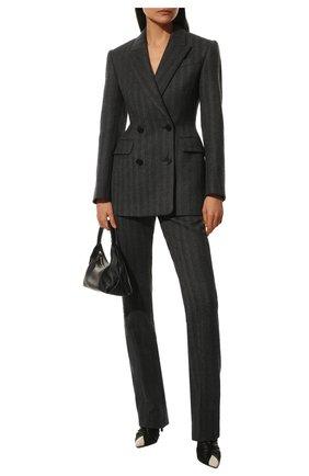 Женские шерстяные брюки ALEXANDER MCQUEEN серого цвета, арт. 639932/QJACG | Фото 2 (Материал подклада: Купро; Материал внешний: Шерсть; Длина (брюки, джинсы): Удлиненные; Стили: Гламурный; Женское Кросс-КТ: Брюки-одежда; Силуэт Ж (брюки и джинсы): Прямые)