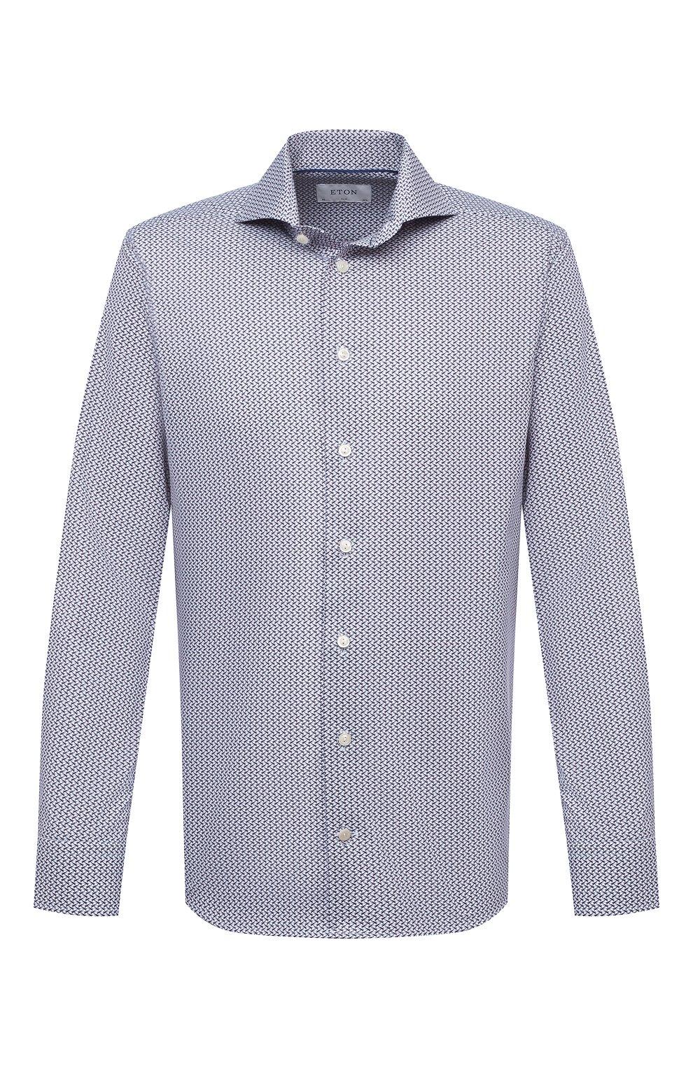 Мужская хлопковая сорочка ETON синего цвета, арт. 1000 02348 | Фото 1 (Манжеты: На пуговицах; Рукава: Длинные; Воротник: Акула; Длина (для топов): Стандартные; Принт: С принтом; Материал внешний: Хлопок; Стили: Классический; Случай: Формальный)