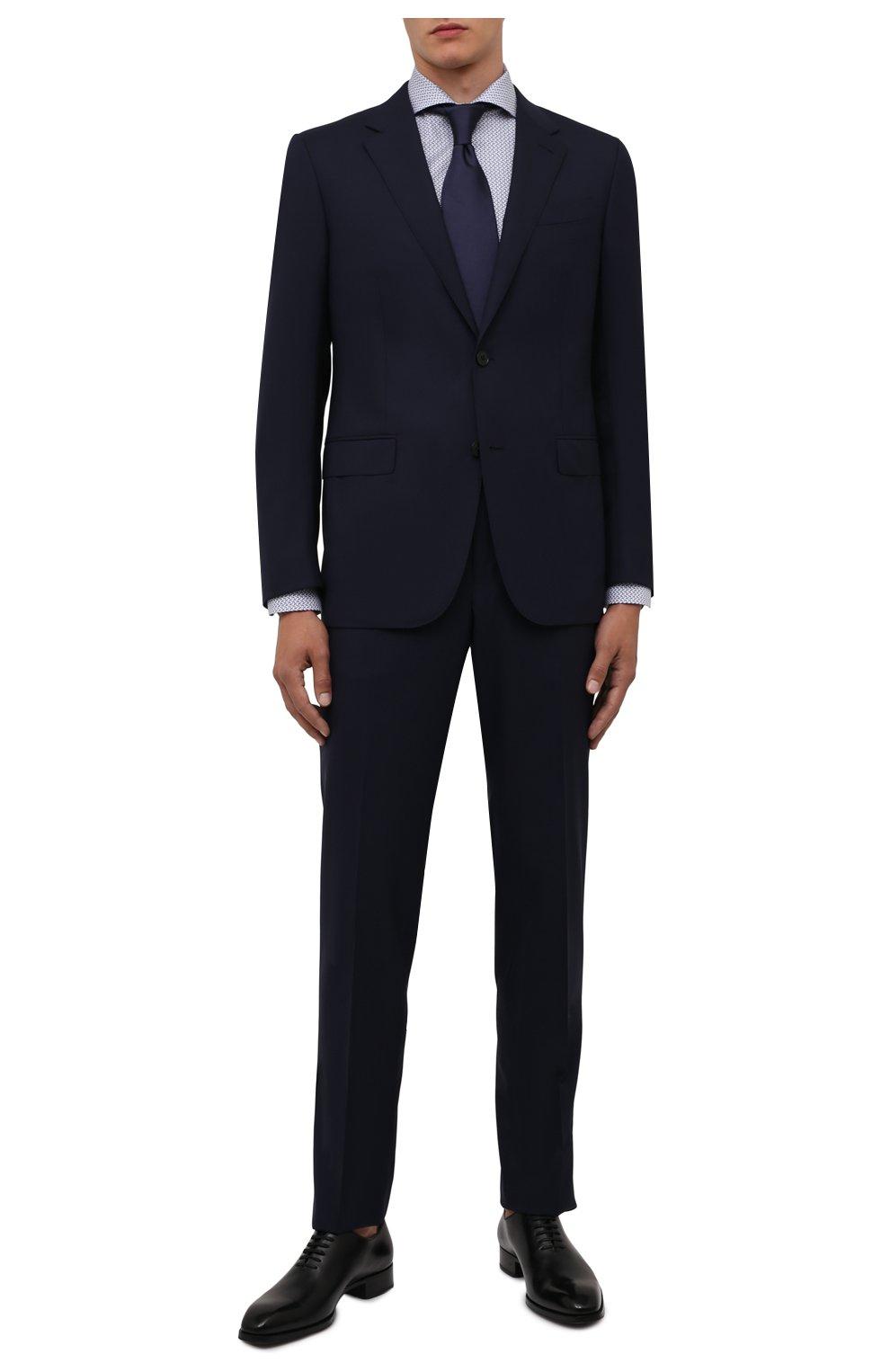 Мужская хлопковая сорочка ETON синего цвета, арт. 1000 02348 | Фото 2 (Манжеты: На пуговицах; Рукава: Длинные; Воротник: Акула; Длина (для топов): Стандартные; Принт: С принтом; Материал внешний: Хлопок; Стили: Классический; Случай: Формальный)