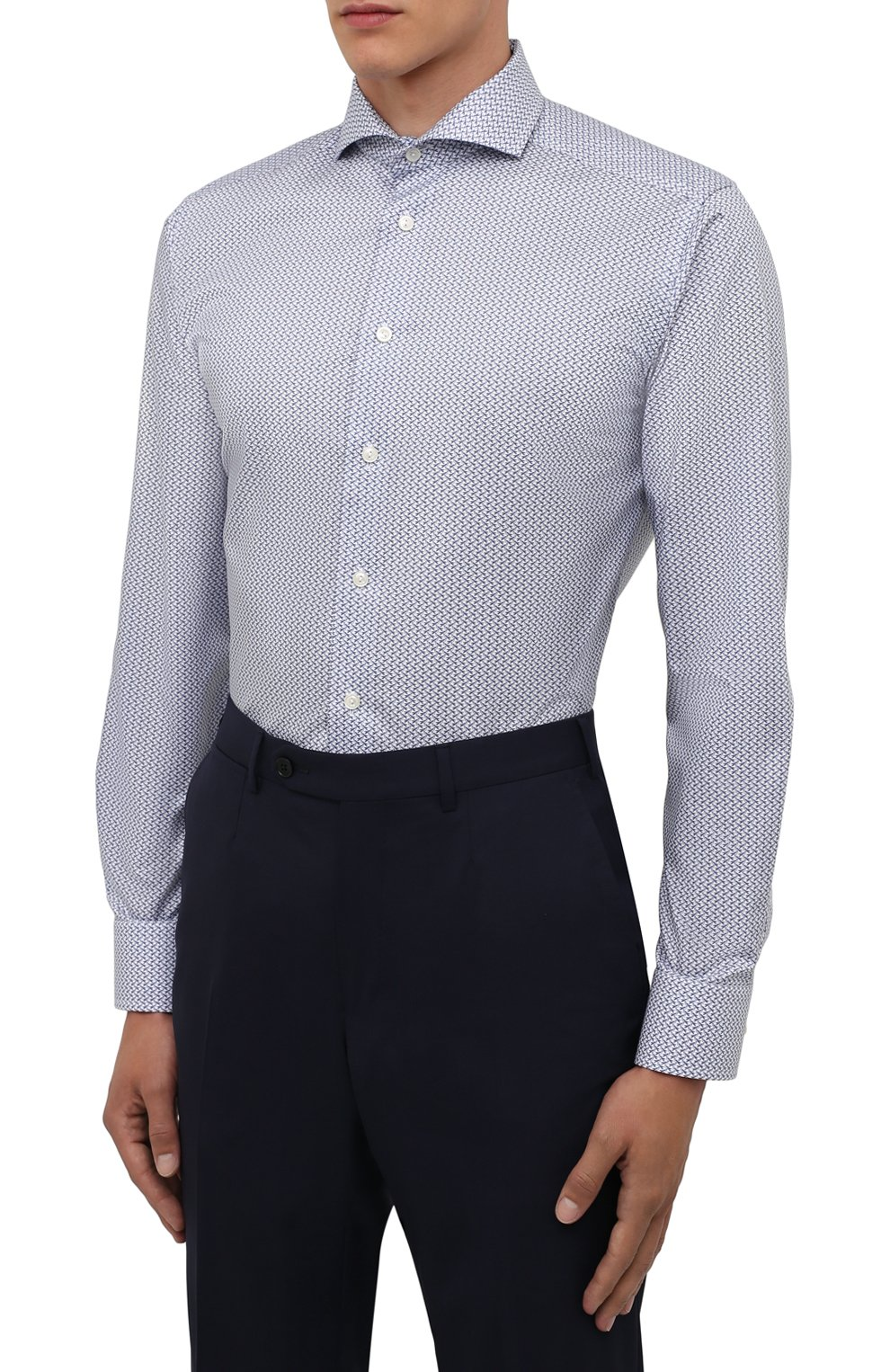 Мужская хлопковая сорочка ETON синего цвета, арт. 1000 02348 | Фото 3 (Манжеты: На пуговицах; Рукава: Длинные; Воротник: Акула; Длина (для топов): Стандартные; Принт: С принтом; Материал внешний: Хлопок; Стили: Классический; Случай: Формальный)