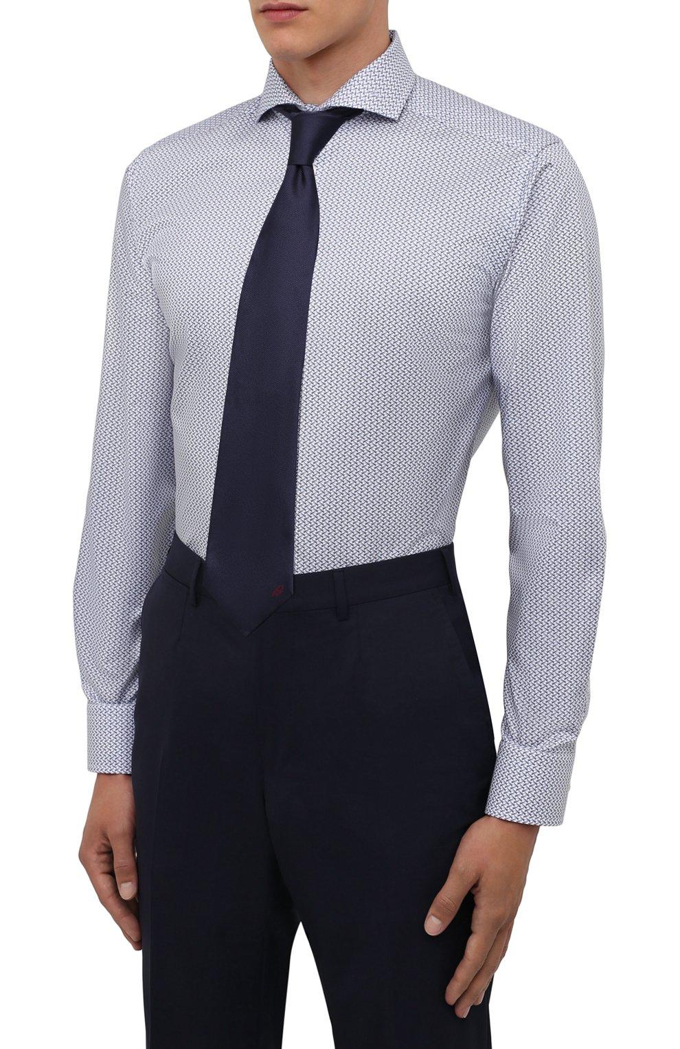 Мужская хлопковая сорочка ETON синего цвета, арт. 1000 02348 | Фото 4 (Манжеты: На пуговицах; Рукава: Длинные; Воротник: Акула; Длина (для топов): Стандартные; Принт: С принтом; Материал внешний: Хлопок; Стили: Классический; Случай: Формальный)