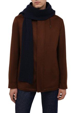 Мужской кашемировый шарф BRIONI темно-синего цвета, арт. 03MB0L/01K23 | Фото 2 (Материал: Шерсть, Кашемир; Кросс-КТ: кашемир)