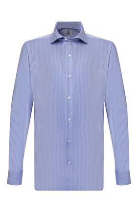Мужская хлопковая сорочка LUIGI BORRELLI синего цвета, арт. SR4120/ACHILLE/ST/EV/PC | Фото 1 (Материал внешний: Хлопок; Случай: Формальный; Стили: Классический; Манжеты: На пуговицах; Принт: С принтом; Воротник: Акула; Рукава: Длинные; Длина (для топов): Стандартные)