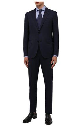 Мужская хлопковая сорочка LUIGI BORRELLI синего цвета, арт. SR4120/ACHILLE/ST/EV/PC | Фото 2 (Материал внешний: Хлопок; Случай: Формальный; Стили: Классический; Манжеты: На пуговицах; Принт: С принтом; Воротник: Акула; Рукава: Длинные; Длина (для топов): Стандартные)