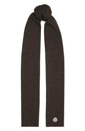 Мужской шерстяной шарф MONCLER хаки цвета, арт. G2-091-3C000-06-A9342   Фото 1 (Материал: Шерсть; Кросс-КТ: шерсть)