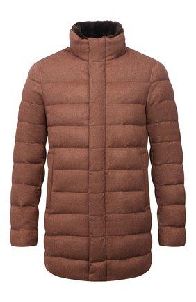 Мужская пуховик с меховой отделкой HERNO коричневого цвета, арт. PI0584U/38087 | Фото 1 (Материал подклада: Синтетический материал; Материал утеплителя: Пух и перо; Материал внешний: Кашемир, Шерсть, Шелк; Кросс-КТ: Куртка; Длина (верхняя одежда): До середины бедра; Мужское Кросс-КТ: пуховик-короткий; Стили: Кэжуэл; Рукава: Длинные)