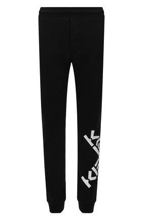 Мужские хлопковые джоггеры kenzo sport KENZO черного цвета, арт. FB65PA7174MS   Фото 1 (Длина (брюки, джинсы): Стандартные; Материал внешний: Хлопок; Силуэт М (брюки): Джоггеры; Стили: Спорт-шик)