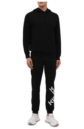 Мужские хлопковые джоггеры kenzo sport KENZO черного цвета, арт. FB65PA7174MS   Фото 2 (Длина (брюки, джинсы): Стандартные; Материал внешний: Хлопок; Силуэт М (брюки): Джоггеры; Стили: Спорт-шик)