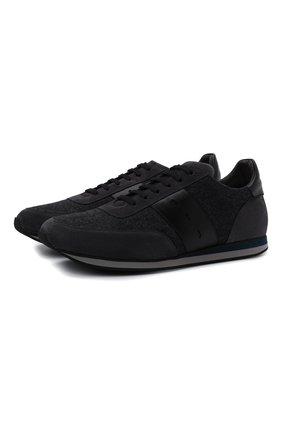 Мужские комбинированные кроссовки CORNELIANI темно-синего цвета, арт. 88TM79-1820901 | Фото 1 (Материал внутренний: Натуральная кожа; Материал внешний: Текстиль; Стили: Классический; Подошва: Плоская)