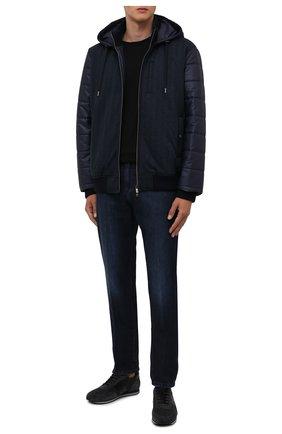 Мужские комбинированные кроссовки CORNELIANI темно-синего цвета, арт. 88TM79-1820901 | Фото 2 (Материал внутренний: Натуральная кожа; Материал внешний: Текстиль; Стили: Классический; Подошва: Плоская)